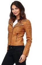 Manteaux et vestes beiges en cuir pour femme