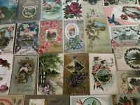 ~Lot of 30~ Pretty ~Flowers & Scenes~Antique Floral Greetings Postcards-s642