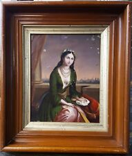 Orientalist Style Antique Oil Painting Beautiful Woman Muslim Europe Middle East