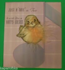 Vintage Easter Greeting Card-Rust Craft-Fat Yellow Birdie Novelty Real Feather