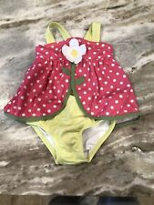 Gymboree Toddler Girl Size 2T Flower Bow Pink Polka Dot One Piece Swimsuit