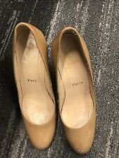 Christian Louboutin Nude Ron Ron Wedge Pumps Size 36.5