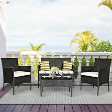 Costway 4PCS Patio Rattan Cushioned Sofa Coffee Table Backyard Porch