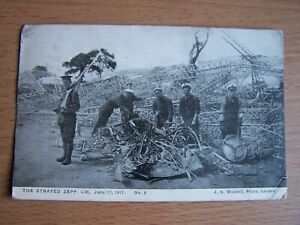 Vintage Postcard The Strafed Zeppelin L4 8 June 17 1917 J S Waddell by Leiston