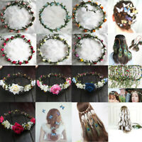 Boho Festival Beach Wedding Party Garland Forehead Hair Women Flower Head Band