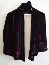 Velvet Partially See-through Black and Red Shawl