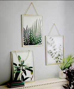 💚 Arthouse Tropical Framed Prints Set 3 Gold Trim Palm Botanical Hanging Glass