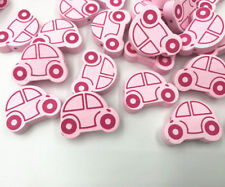 50x Pink Wooden Car Shape Wood Beads for Jewelry Making Baby Pacifier Clip 25mm