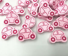 20X Pink Wooden Car shape Wood Beads for Jewelry Making Baby Pacifier Clip 25mm