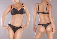 Damen BH Glamour 2er Set Push Up Dessous  String Tanga schwarz mit Glitzer