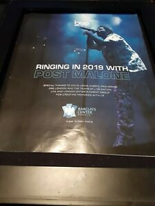 Post Malone Barclay's Center Brooklyn Rare Original Promo Poster Ad Framed!
