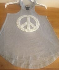 Blush & Bloom girls top, heathered gray w/ lace peace symbol applique, Sz Large
