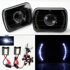 "7X6"" 8K HID Xenon H4 LED DRL Projector Black Glass Headlight Conversion Plym"