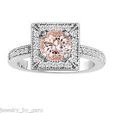PEACH MORGANITE & DIAMONDS ENGAGEMENT RING 14K WHITE GOLD 1.23 CARAT HANDMADE