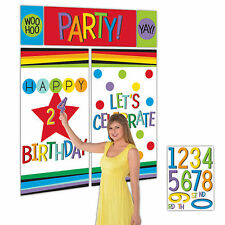 Rainbow Colours Birthday Party Scene Setter Add An Age Wall Decorating Kit