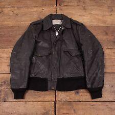 "Mens Schott NYC 674 Vintage Quilt Lined Leather Flight Jacket Black M 42"" R3804"