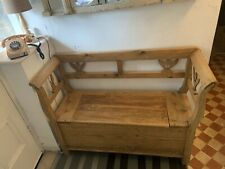 More details for large authentic antique hungarian pine settle / storage bench (circa 1850 )