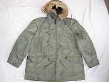 Vtg USAF N-3B Size L Nylon Cold Weather Flight Jacket Parka Coyote Fur Hood