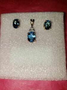 Blue Topaz And Diamond Earring & Pendant Set 14k gold Zales New Never Worn