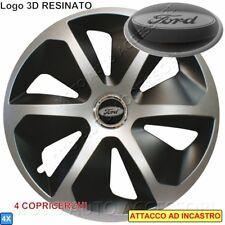 """4 Copricerchi Calotte Cora Sport 16"""" Logo Resinato 3D per FOCUS KUGA MONDEO"""