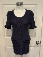 Marc by Marc Jacobs Navy Blue Short Sleeve Cardigan Sweater, Size Small