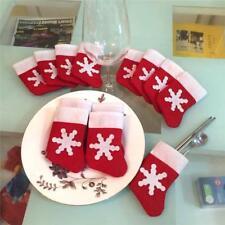 12Pcs Mini Christmas Stocking Cutlery Holders Tableware tree Decoration Gift Bag