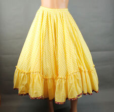 Vintage Circle Skirt Sz L Long Yellow White Plaid Gingham Prairie Girl Red Trim