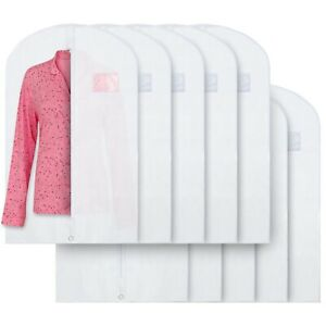 """Breathable 40"""" White Garment Bags Storage of Suits & Dresses with Zipper 10 Pack"""
