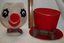 Vintage Christmas Decorations flocked Brandy Snifter Snowman Shabby Chic