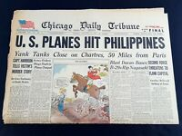 US Planes Philippines B-29s Nagasaki 1944 Old Newspaper Chicago Tribune Aug 11