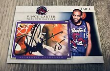VINCE CARTER TORONTO RAPTORS UNC TARHEELS DUNK SIGNED CUSTOM CUT AUTO CARD #1/1