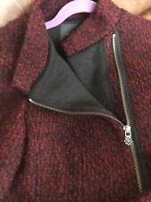MAISON SCOTCH Burgandy & Black Melange Knit Zip Motorcycle Jacket 4 NEW