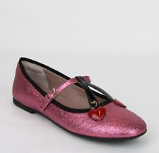 c11da2b8c65 Gucci Girl Junior Pink Shimmer Fabric Ballet Flats w Hearts 34 439814 5860