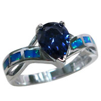 COOL BLUE OPAL 2 CT TANZANITE 925 STERLING SILVER RING SIZE 5-10