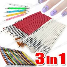 NEW 3 in 1 Nail Art Design Set Dotting Painting Polish Brush Pen Strip Stickers