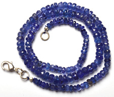 """NATURAL TANZANITE MICRO FACETED RONDELLE BEADS NECKLACE 3 TO 6 MM 16"""" AAA"""