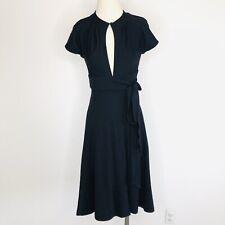 DIANE VON FURSTENBERG Size 4 Black Keyhole Wool Wrap Dress Career LBD Office E4