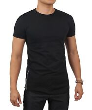 Mens HIPSTER T Shirts Casual Extended Longline Back Hip Hop Tee Zipper Tee