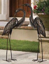 Bronze Heron Pair Coastal Metal Garden Statues Art Sculpture,43''& 45''H