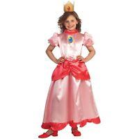 Princess Peach Costume Kids Super Mario Brothers Halloween Fancy Dress