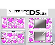 nintendo DS Lite - PINK HEARTS - 4 Piece Decal / Sticker Skin UK