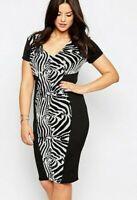 ASOS GEMMA COLLINS BLACK & WHITE SEQUIN PANELLED PENCIL PLUS SIZE DRESS 16-24