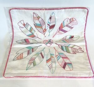 """Pottery Barn Teen Junk Gypsy Embroidered Dreamer Feather Heart Pillow Cover 16"""""""