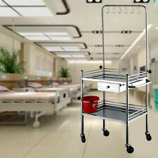 "25*17*34"" Drip Medical Dental Lab Cart Trolley Stainless Steel Two Layers Z16B8"