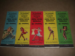 Pin-Up 1949 Peters SINCLAIR  Service Station Matchbook Covers Set of 5
