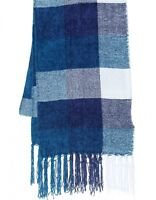 NEW Charter Club Women's Checkered Fringe Scarf Mikinos Blue