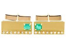 Vintage 1990s 0.90ct Emerald 0.36ct Diamond and 18k Yellow Gold Cufflinks