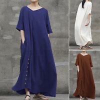 Women Cotton Half Sleeve V Neck Button Down Shirt Dress Plain Baggy Long Dresses
