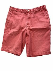 36 Land's End Men's Shorts Burnt Red Traditional Fit Flat Front