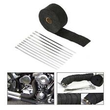 1 Roll 5m Black Fiberglass Exhaust Header Pipe Heat Wrap Tape+10 Ties Kit B0P9